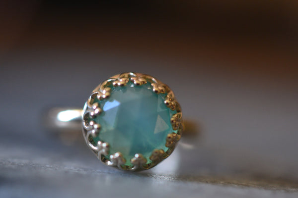 Natural Aqua Opal Gemstone in 14ct Yellow Gold Bezel Ring