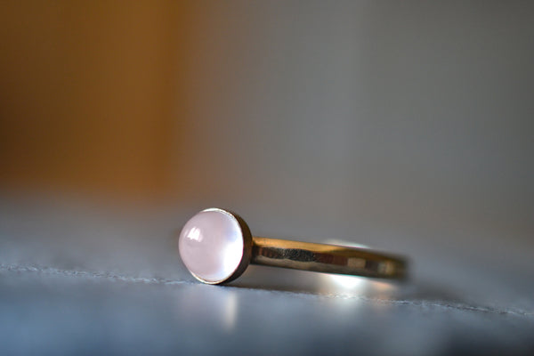 Women's Rose Quartz Cabochon Ring in Recycled 14ct Yellow Gold