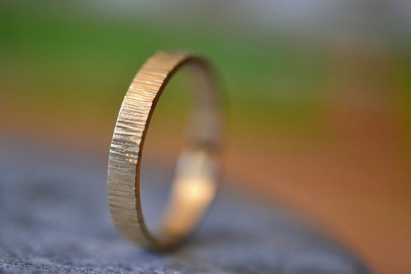 Men's Minimalist 14K Yellow Gold Wedding Band With Tree Bark Texture