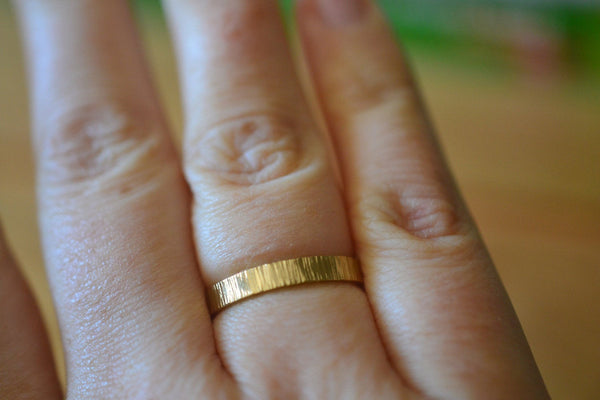 Men's 14K Yellow Gold Tree Bark Wedding Ring With Engraving
