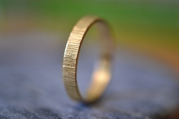 Personalised 3mm Wide Hammered 14K Yellow Gold Wedding Band