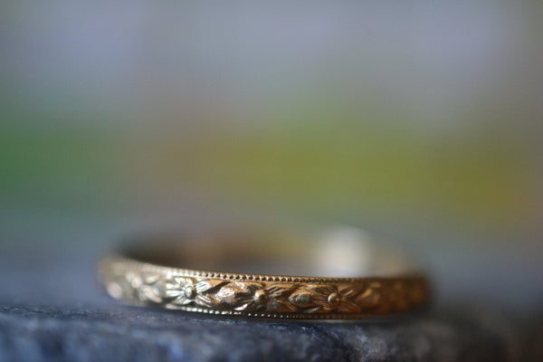 Handcrafted Ethical 14K Yellow Gold Poesy Pattern Wedding Ring