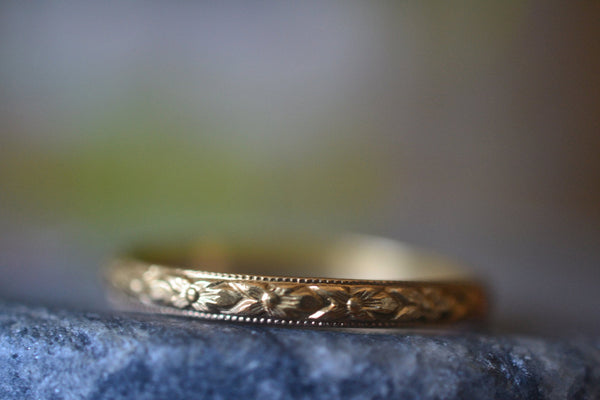 Recycled 14K Yellow Gold Wedding Ring With Flower Pattern