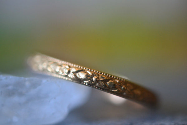 Narrow Victorian Poesy Style Wedding Band in 14ct Yellow Gold