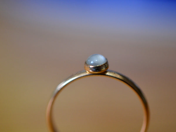 Handmade 14K Yellow Gold & 4mm White Moonstone Ring