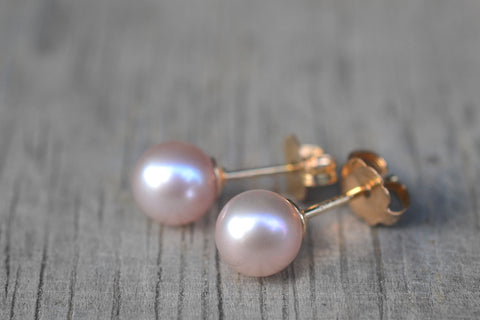 Simple Pink Pearl Studs With 14K Gold Fill Posts