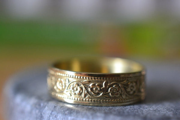Solid Gold Wedding Band With Wild Flowers