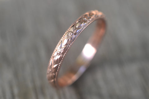14K Rose Gold Victorian Style Poesy Wedding Ring