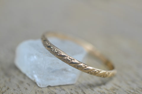 Dainty 14K Yellow Gold Pattern Stack Ring
