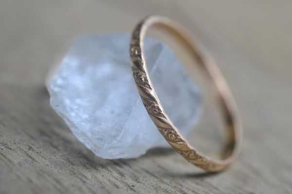 Delicate 14K Yellow Gold Pattern Stacking Ring