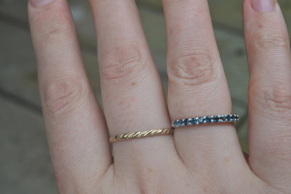 Minimalist 14K Gold Patterned Stack Ring
