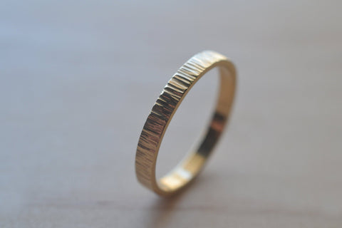 14K Yellow Gold Tree Bark Wedding Band
