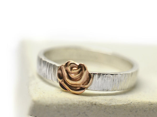 Silver Tree Bark Band & 14K Gold Rose Ring