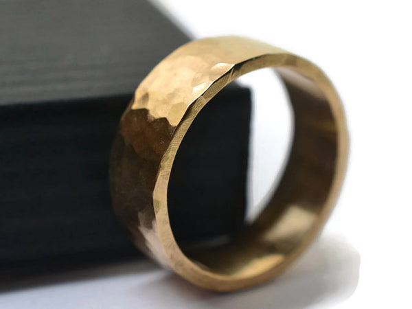 Handforged Ethical 6mm Wide 14K Yellow Gold Wedding Band
