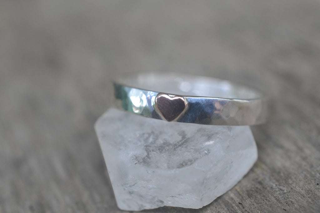 Sterling Silver Band With 14K Rose Gold Heart