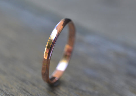 Dainty 2mm Hammered 14K Rose Gold Wedding Band