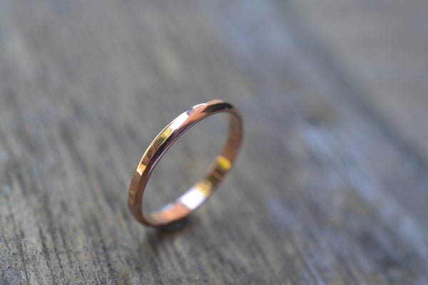 Women's Narrow 2mm 14ct Rose Gold Wedding Ring