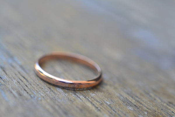 Rustic Hammered 14ct Rose Gold Wedding Ring With Engraving