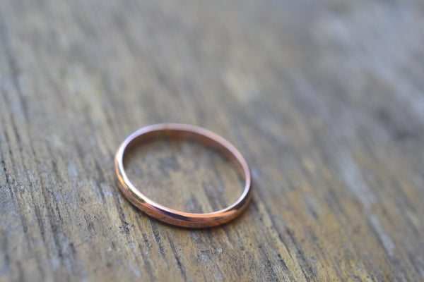 Simple Minimalist 14K Rose Gold Stacking Band With Engraving