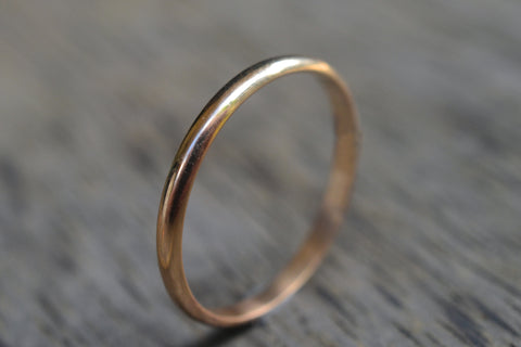 Womens Narrow 2mm 14K Yellow Gold Domed Wedding Band