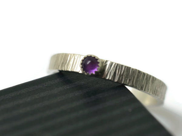 Personalized Sterling Silver Tiny Amethyst Promise Ring