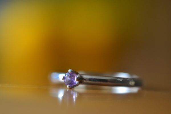 Simple Sterling Silver & Brazilian Amethyst Promise Ring