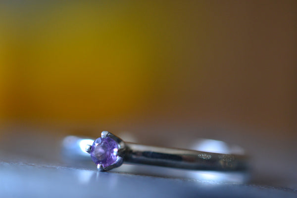 Dainty 3mm Amethyst Ring in Sterling Silver