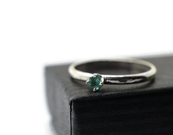 Dainty Apatite Gemstone Ring in Sterling Silver