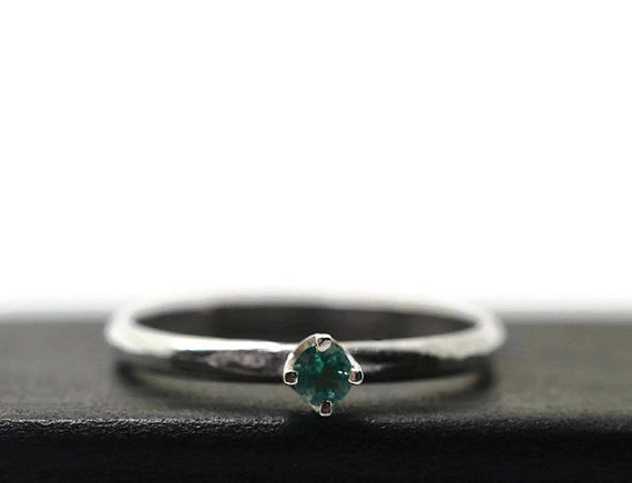 Handforged Sterling Silver & 3mm Apatite Engagement Ring
