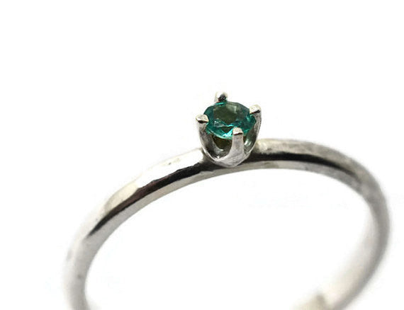 Handmade Tiny Natural Apatite Gemstone Ring in Sterling Silver