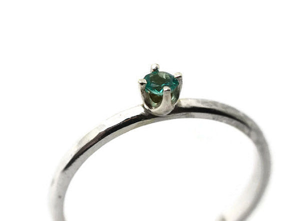 Four Prong Claw Set Apatite Ring in Sterling Silver with Engraving