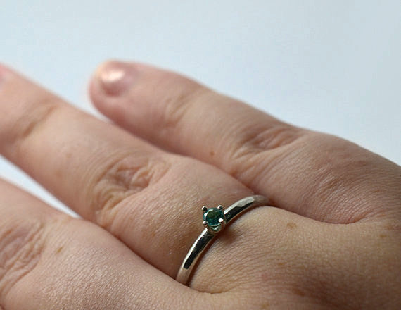 Handmade Sterling Silver & 3mm Apatite Dress Ring