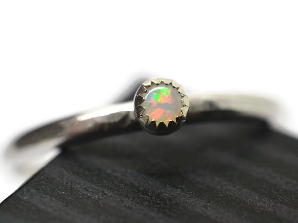 3mm Australian White Opal Ring