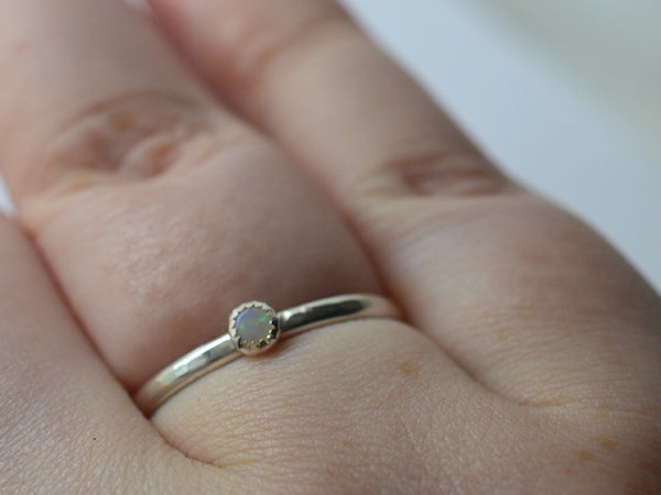 Handforged Australian Opal Stacking Ring