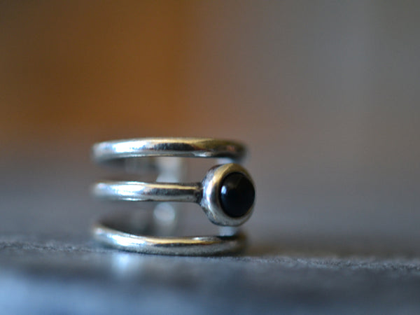 Triple Band Ear Cuff in Sterling Silver with 3mm Black Onyx