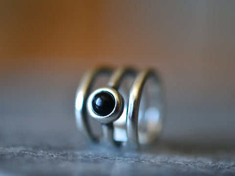 Three Band Ear Cuff in Sterling Silver With Black Onyx Cabochon
