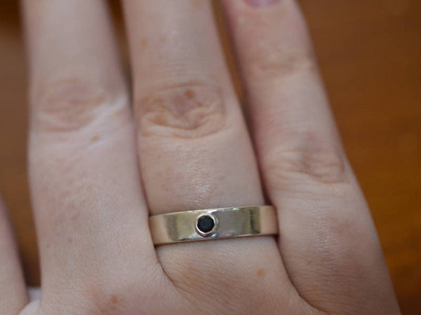 Men's Sterling Silver & Inset Black Spinel Wedding Band