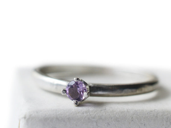 3mm Brazilian Amethyst Promise Ring in Sterling Silver