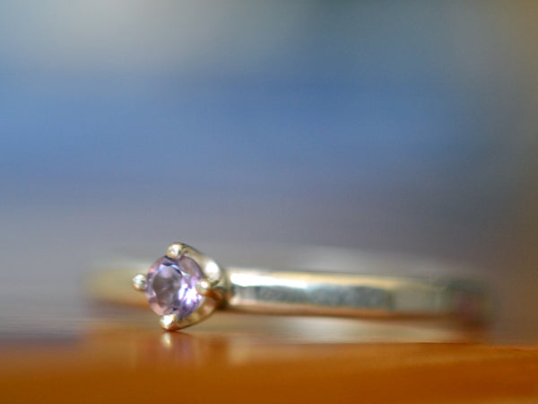 Handmade Sterling Silver & 3mm Brazilian Amethyst Ring