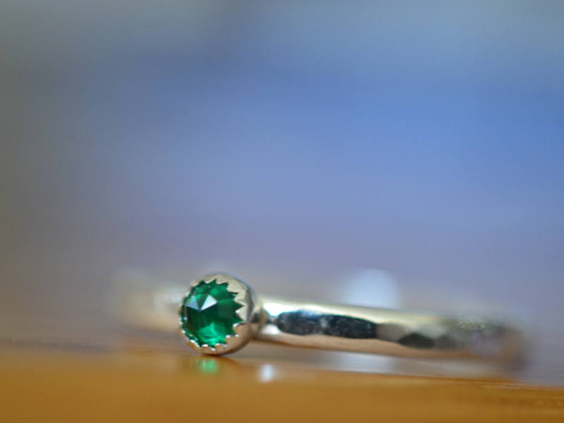 Handmade Sterling Silver Tiny Emerald Stack Ring