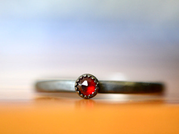 Oxidized Sterling Silver Tiny Garnet Stacking Ring