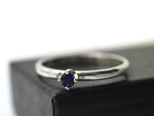 Handforged Sterling Silver Dainty Blue Sapphire Engagement Ring
