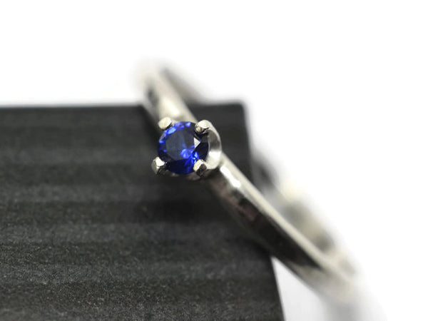 Handmade Sterling Silver Tiny Blue Sapphire Engagement Ring