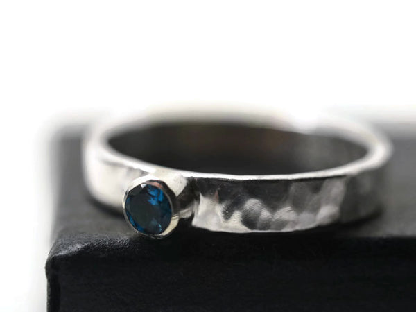 Handmade Personalized London Blue Topaz Engagement Ring