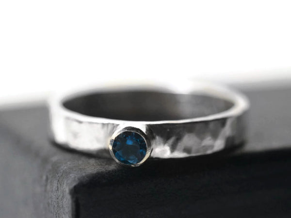 Handcrafted Sterling Silver London Blue Topaz Engagement Ring