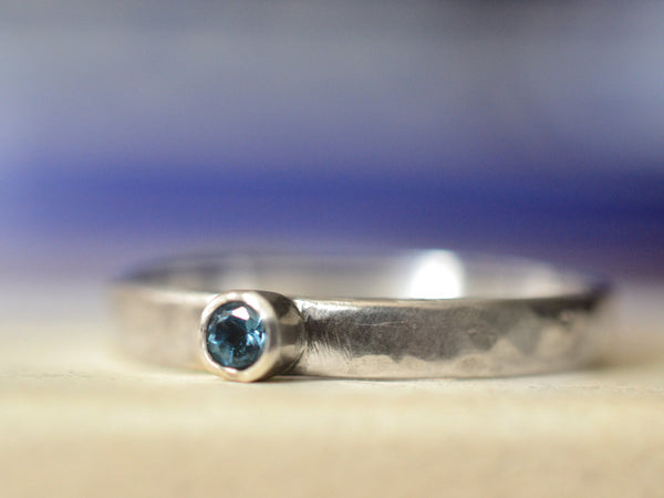 Handforged Sterling Silver London Blue Topaz Promise Ring
