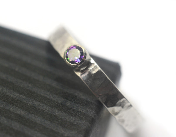 Handmade Tube Set 3mm Mystic Topaz Engagement Ring