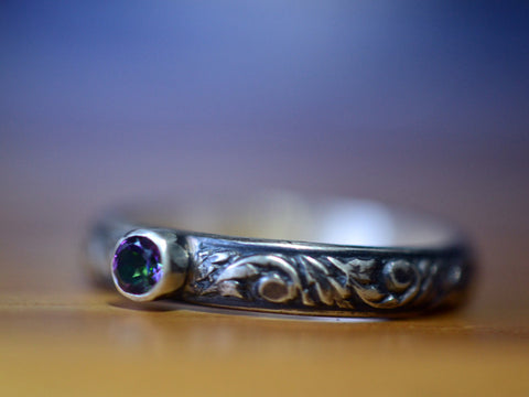 Oxidized Silver Renaissance Style Mystic Topaz Engagement Ring