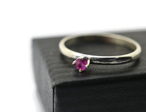 Handforged 3mm Genuine Ruby Engagement Ring