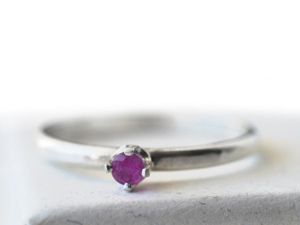 Tiny Ruby Engagement Ring in Sterling Silver